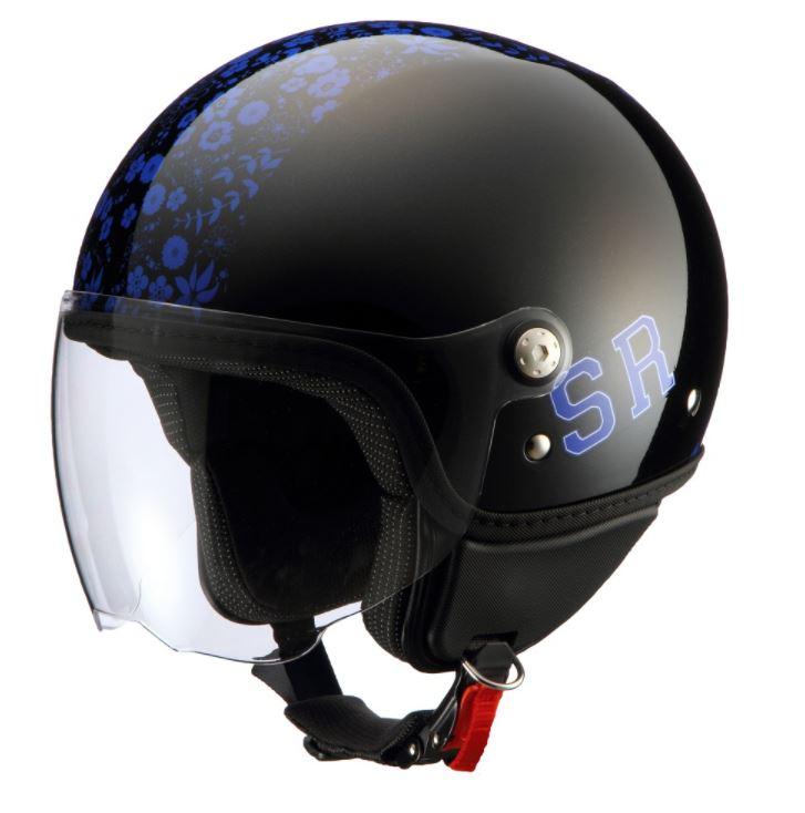 レディースジェットヘルメット MOCO IVY ブラック/パープル レディースフリーサイズ SUGAR RIDEZ(シュガーライズ)
