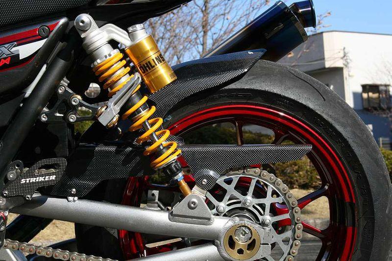 エアロデザイン(SAD)リヤフェンダー 黒ゲルコート仕上げ ロングタイプ ノーマルスイングアーム用 STRIKER(ストライカー) ZRX1200 DAEG(ダエグ)