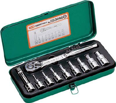 HB3082 TONE ヘキサゴンソケットレンチセット 吋目 10pcS(6角タイプ・差込角9.5mm・インチサイズ) TONE(トネ)