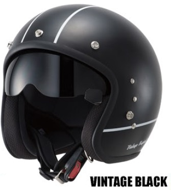 TT380ハイブリッドスモールジェットヘルメット ビンテージブラック フリーサイズ(57~59cm) OWL(アウル)