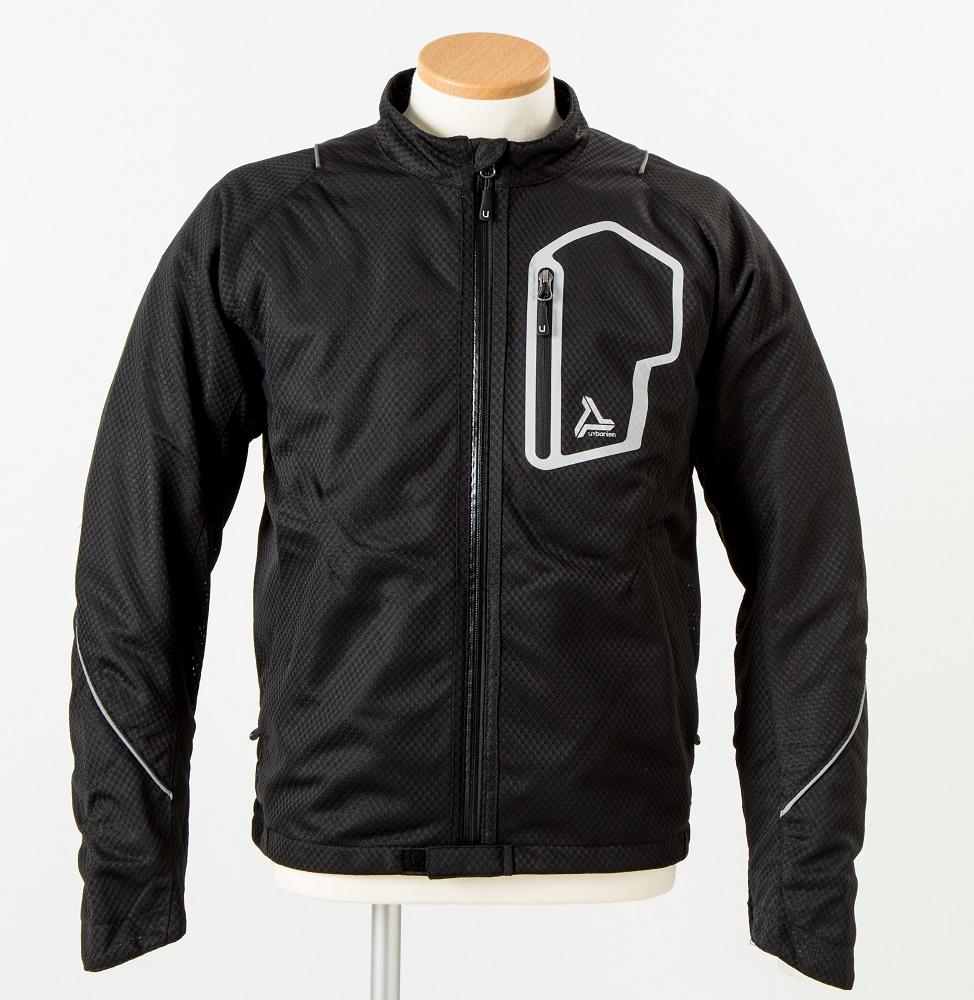 UNJ-053 サマーメッシュラインジャケット ブラック 3Lサイズ urbanism(アーバニズム)