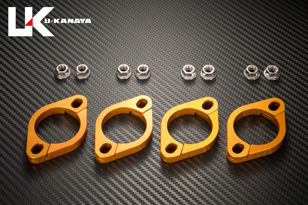 GPZ900R Ninja(ニンジャ) アルミ削り出しエキゾーストフランジ(ゴールド) U-KANAYA