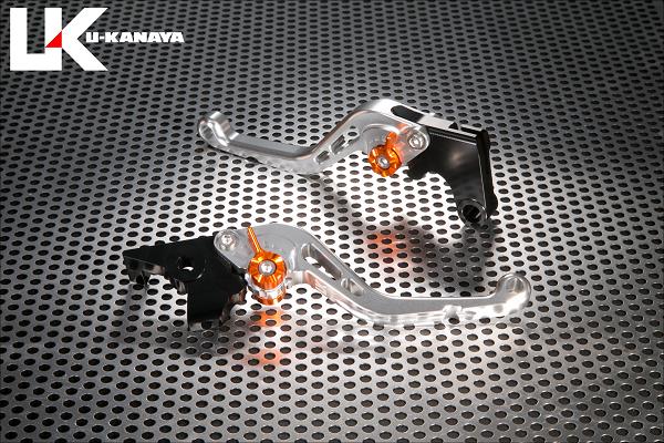 バンディット400/V(BANDIT)GK75A スタンダードタイプ ショートアルミビレットレバーセット(シルバー) U-KANAYA