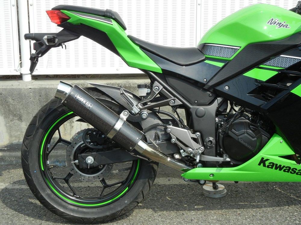 ラウンドタイプ スリップオンマフラー ステンレス/カーボン(JMCA認証) WR'S(ダブルアールズ) Ninja250/ABS(JBK-EX250L)