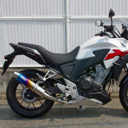 400X(EBL-NC47) ステンレスリヤエキゾーストマフラー 焼き色 ラウンドタイプ WR'S(ダブルアールズ)
