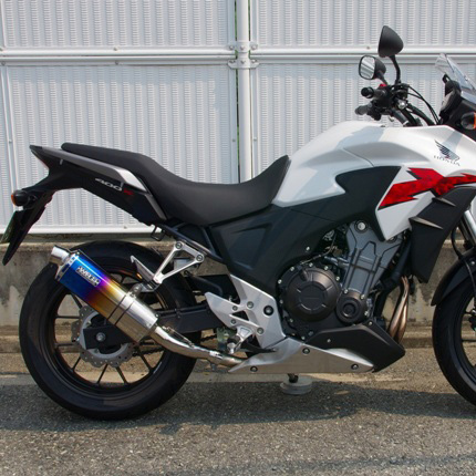 400X(EBL-NC47) ステンレスリヤエキゾーストマフラー 焼き色 オーバルタイプ WR'S(ダブルアールズ)
