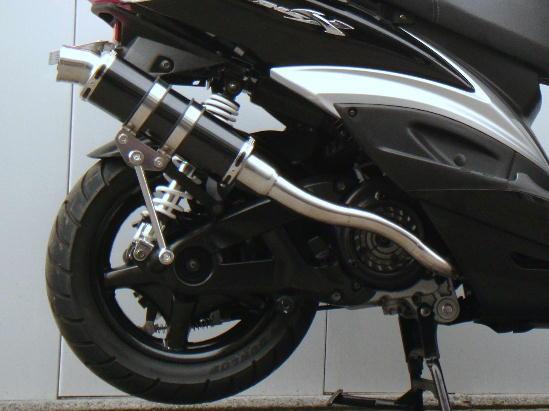 シグナスX A/Fセンサー付(台湾5期以降) スネーク・コーン・パイプ OV180 WJ-R ブラックステンレス ウインドジャマーズ