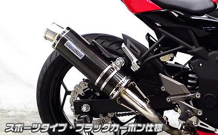 Ninja250SL(ニンジャ250SL) スリップオンマフラー スポーツタイプ ブラックカーボン仕様 ウイルズウィン(WirusWin)