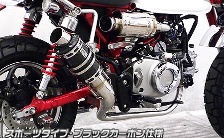 ショートマフラー スポーツタイプ ブラックカーボン仕様 ウイルズウィン(WirusWin) モンキー125(2BJ-JB02)