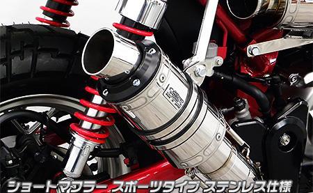ショートマフラー スポーツタイプ ステンレス仕様 ウイルズウィン(WirusWin) モンキー125(2BJ-JB02)