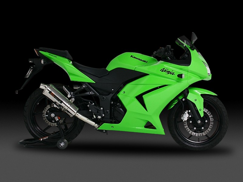 Ninja250R(ニンジャ)08~12年 スリップオンマフラー Tri-Ovalサイクロン(1エンド) STB (チタンブルーカバー) YOSHIMURA(ヨシムラ)
