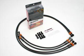 FJ1200 (ABS) メッシュ ブレーキホース フロント/4本 ブラック ブラック/ゴールド ACパフォーマンス アクティブ 32231250 メッシュブレーキホース FJ1200 (ABS)