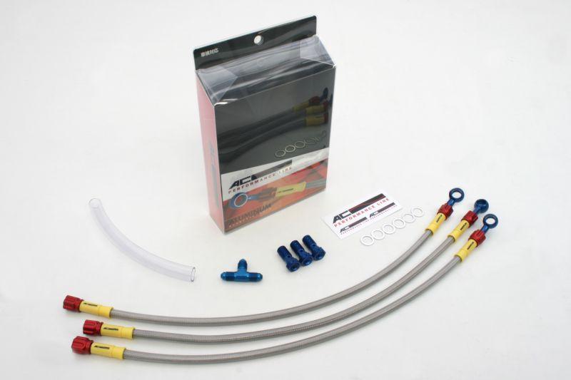 XJR1300 00-11 メッシュ ブレーキホース フロント クリア ブルー/レッド ACパフォーマンス アクティブ 32031543 メッシュブレーキホース XJR1300 00-11