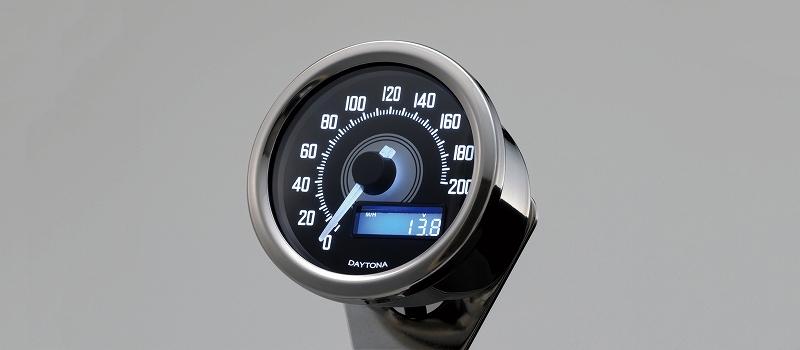 デイトナ 79232 VELONA スピードメーター 200km/h バフボディー/ブラックP/ホワイトLED