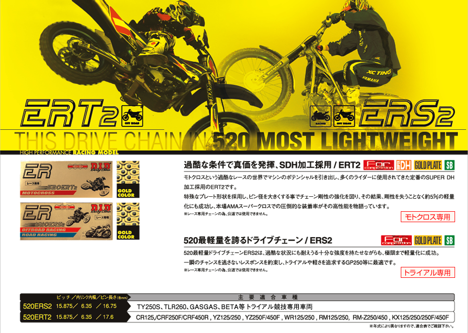 DID 520ERT2-140ZB(カシメタイプ) EXCLUSIVE RACINGシリーズ ノンシールチェーン レース専用 ゴールド/ゴールド 4525516179812