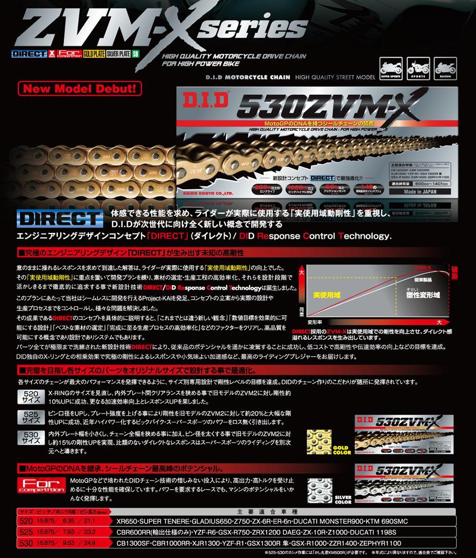 DID 530ZVM-X-120ZB(カシメタイプ) ZVM-Xシリーズ Xリングシールチェーン ゴールド/ゴールド 4525516332255