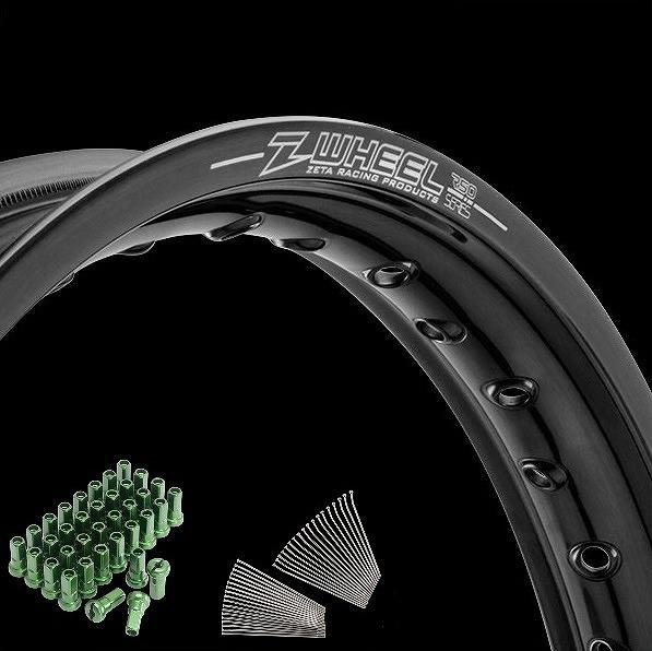 Z-Wheel ズィーウィール W25-133614 リムセット フロント ブラックリム/グリーンニップル KLX230 KLX230R ダートフリーク