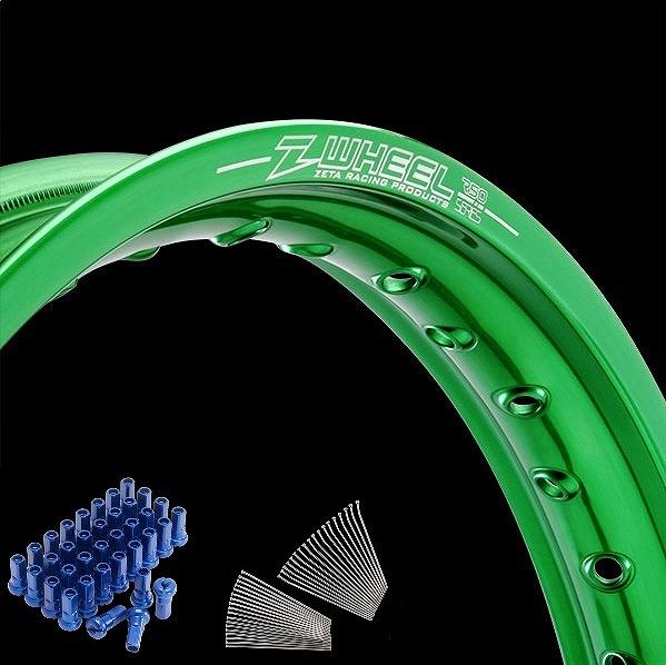 Z-Wheel ズィーウィール W25-151342 リムセット フロント グリーンリム/ブルーニップル RMZ250 RMZ450 RMX450Z ダートフリーク