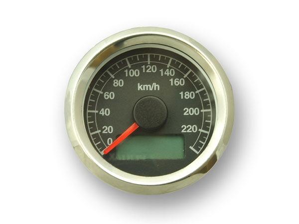 GUTS CHROME ガッツ クローム 4100-5104 機械式アジャスタブル スピードメーター 黒盤 ステンボディ ガッツ クローム 4100-5104