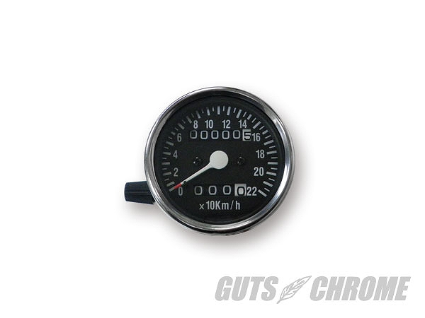 GUTS CHROME ガッツ クローム 4100-7021 60mm 機械式スピードメーター トリップ付 黒 2:1 ガッツ クローム 4100-7021