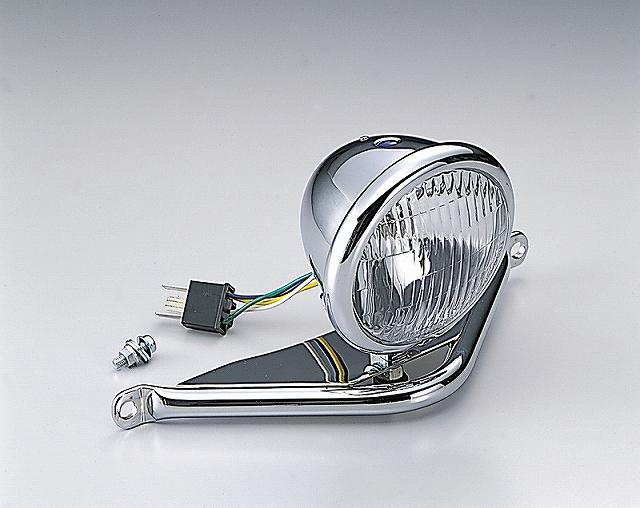 ハリケーン HA5608 4.5ベーツタイプヘッドライトキット クロームメッキ 12V35/35Wハロゲンバルブ パイプステー、H4カプラ付 FTR223.CB223S ハリケーン ha5608