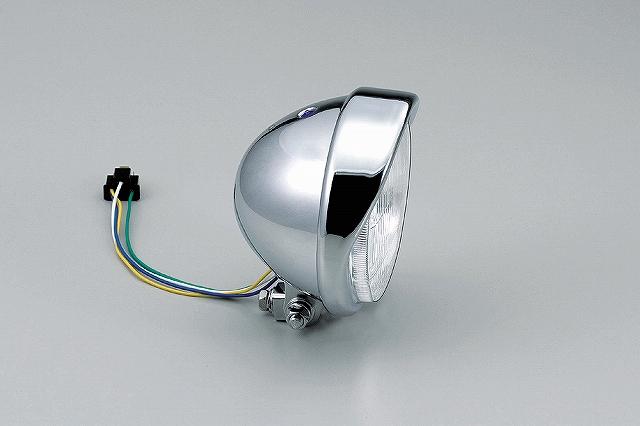 ハリケーン HA5614 5.5ベーツバイザータイプヘッドライト クロームメッキ 5.5インチ H4バルブ12V60/55W 汎用 ハリケーン ha5614