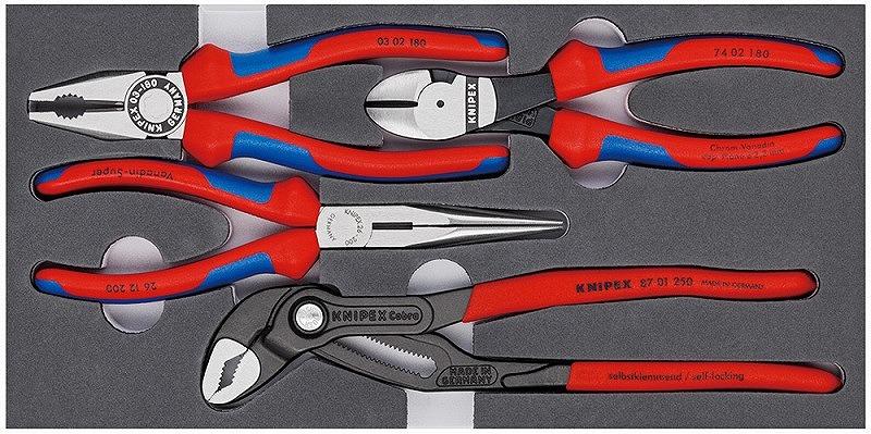 KNIPEX クニペックス 002001V15 プライヤーセット ウレタントレイ入り 0302-180/2612-200/7402-180/8701-250 ペンチ ニッパー