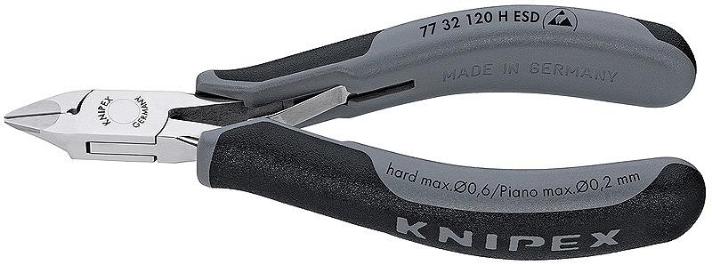 KNIPEX クニペックス 7732-120HESD 超硬刃エレクトロニクスニッパー 切断能力(軟線;φmm):1.6 切断能力(中硬線;φmm):1.0 切断能力(硬線;φmm):0.6 切断能力(ピアノ線;φmm):0.2 口先の長さ(mm):14
