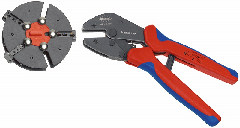 KNIPEX クニペックス 9733-01 マルチクリンプ マガジン式圧着工具 クリンピング能力(mm2):0.5-6.0 クリンピング能力(AWG):20-10 質量(g):770
