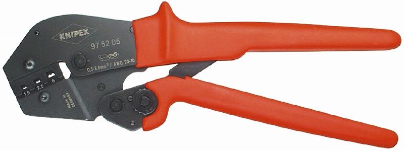 KNIPEX クニペックス 9752-05 圧着ペンチ (SB) クリンピング能力(mm2):0.5-6.0 クリンピング能力(AWG):20-10 質量(g):572 適用:ファストン・ギボシ