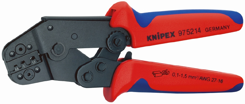 KNIPEX クニペックス 9752-14 圧着ペンチ クリンピング能力(mm2):0.1-1.5 クリンピング能力(AWG):27-16 質量(g):375