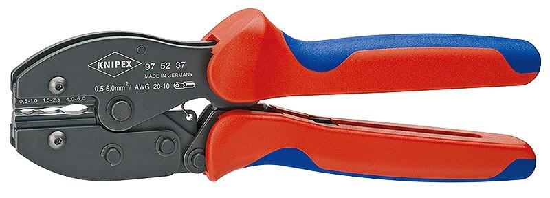 KNIPEX クニペックス 9752-37 圧着ペンチ クリンピング能力(mm2):0.5-6.0 クリンピング能力(AWG):20-10 質量(g):478