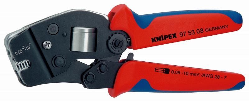 KNIPEX クニペックス 9753-08 ワイヤーエンドスリーブ圧着ペンチ (SB) クリンピング能力(mm2):0.08-10.0 クリンピング能力(AWG):28-7 質量(g):477