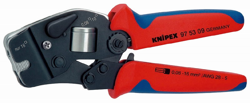 KNIPEX クニペックス 9753-09 ワイヤーエンドスリーブ圧着ペンチ (SB) クリンピング能力(mm2):0.08-10+16 クリンピング能力(AWG):28-5 質量(g):486 適用:4角クリンプ