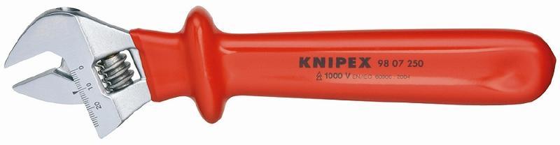 KNIPEX クニペックス 9807-250 絶縁モンキーレンチ 250MM 最大口幅(mm):30 最大口幅(inch):1.1/8 全長(mm):250 先端厚み(mm):8.0 ヘッド厚み(mm):16.0 ヘッド幅(mm):73 アゴ深さ(mm):20 質量(g):500