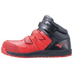 MIZUNO ミズノ F1GA1902 オールマイティ SF21M 安全靴 作業靴 ワーキングシューズ メンズ ミッドカットモデル レッド×ブラック 27.5cm