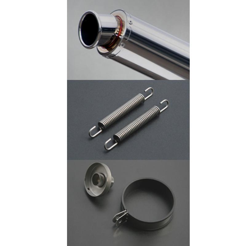 Realize 汎用 ステンレス サイレンサー マフラー 100×450 60.5φ 2ピース カールエンド 701-001-01 リアライズ サイレンサー