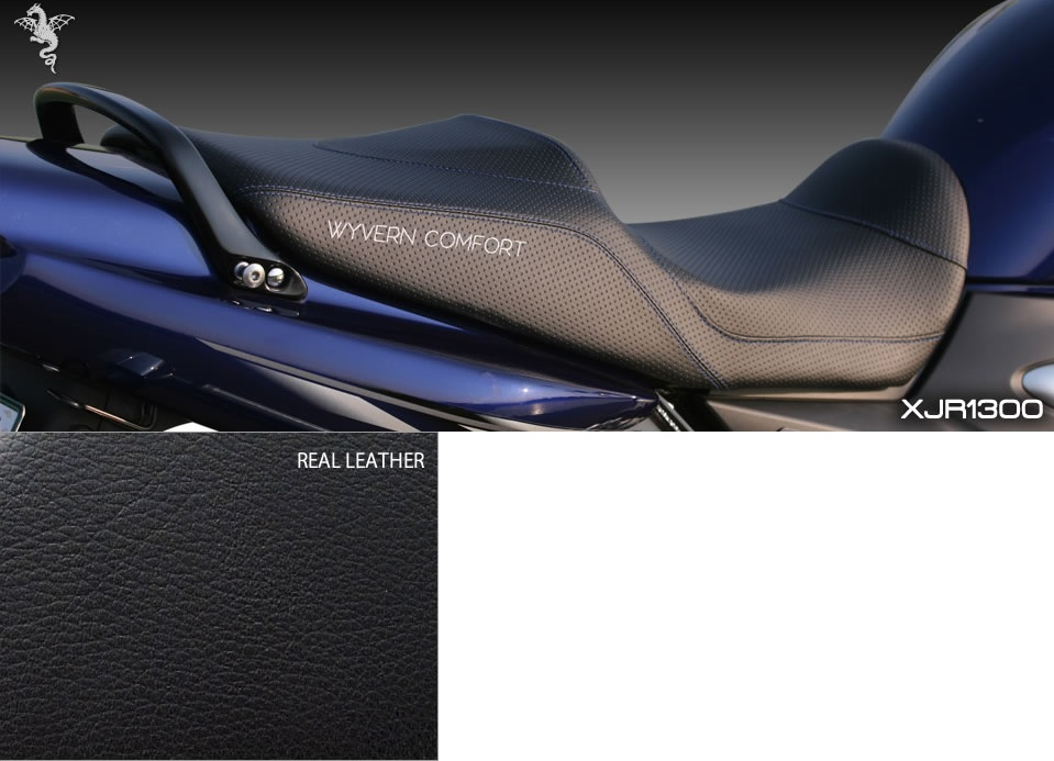 アールズギア rs gear CY01-RL00 ワイバンコンフォートシート リアルレザー 表皮:黒/ステッチ:青 シート XJR1300