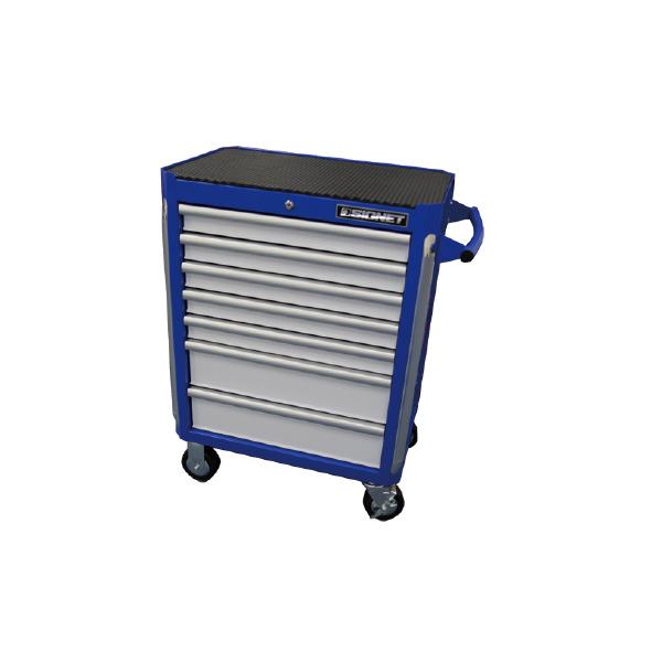 SIGNET シグネット 54081 ヘビーローラーキャビネット7段 (ブルー&ホワイト) 本体サイズ(mm):W722XD459XH828.5(キャスター含まず)・H1000(キャスター含む)