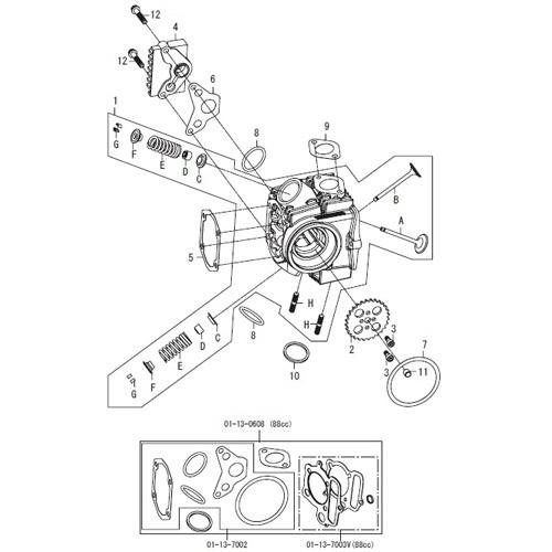 SP武川 タケガワ 01-03-0025 17Rステージ Eヘッドキット エントリーモデル モンキ/ゴリラ/CD50/DAX/シャリー