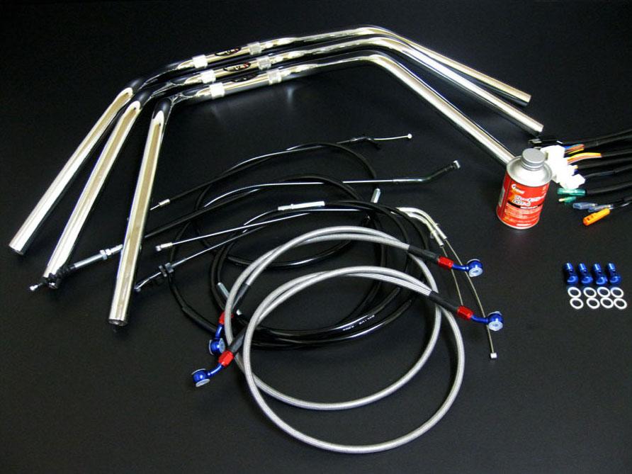 CB400F (97-) アップハンドルに変更する為のハンドル、ワイヤー、メッシュブレーキホース、ハーネス等 フルコンプリートした アップハンドルセット キット! CB400F 97- ヨンフォア アップハンドル セット オニハン セミしぼり鬼ハンドル BK アップハン メッシュブレーキホース バーテックス CB400F ヨンフォア アップハンドル