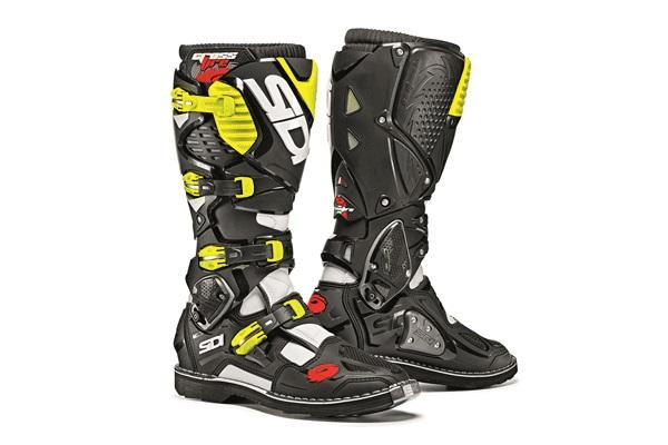 SIDI シディー CROSSFIRE3 縫付式MXフラットソールモデル ブーツ ホワイト/ブラック/フローイエロー 9.5/44サイズ 27.0cm-27.5cm WESTWOOD ウエストウッド