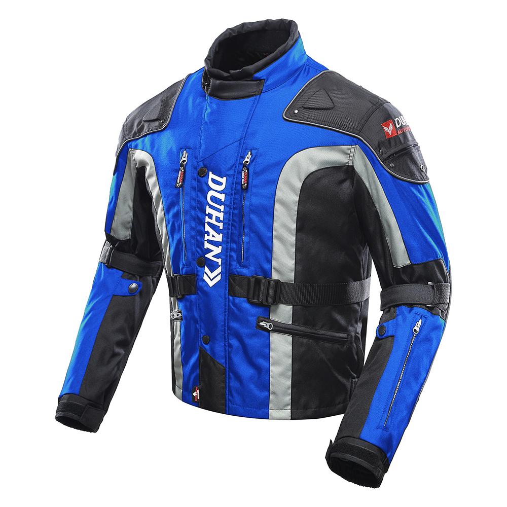 送料無料 バイク ジャケット DUHAN  フルイヤージャケット ブルー XXLサイズ  オールシーズン  DH-203  ドゥーハン  プロテクター付  着脱式インナー  ライディングウェア  バイク用  バイクパーツセンターDUHAN