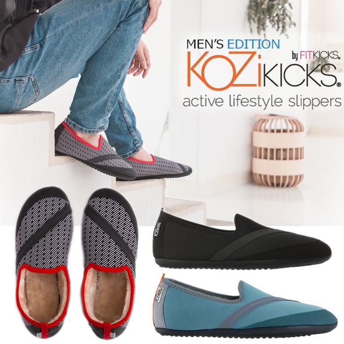 【ポイント10倍】『KOZIKICKS コジキックス メンズ』<多機能スリッパ型シューズ>【シューズ 靴 スリッパ フェイクファー ルームシューズ MENS 多機能】