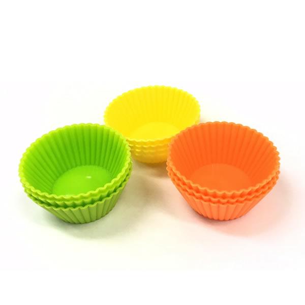 <Sサイズ9個セット>弁当のおかずカップに便利です!洗って繰り返し何度でも使えるからとってもエコ!耐冷耐熱性に優れているのでレンジ・オーブン・冷凍・もOK! レンジ・オーブン・冷凍・もOK!『エコ de カラフル シリコンカップ Sサイズ 9個セット』【型 おかずカップ お弁当カップ 行楽用 食洗機】