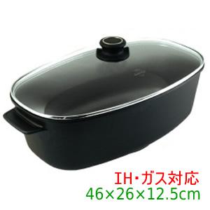 【送料無料】『Gastrolux(ガストロラックス) バイオタン キャセロール 鍋(ガラス蓋付き) 46×26×12.5(13.5)cm【IH・ガス対応】 17900』