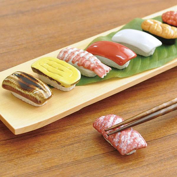 本物のようなリアルさがとってもユニークな陶器の寿司箸置です てまひま工房 寿司箸置 単品 割り引き 箸おき 箸置き かわいい 日本製 おしゃれ カトラリーレスト おもしろ お寿司 ヤマコー お買い得品