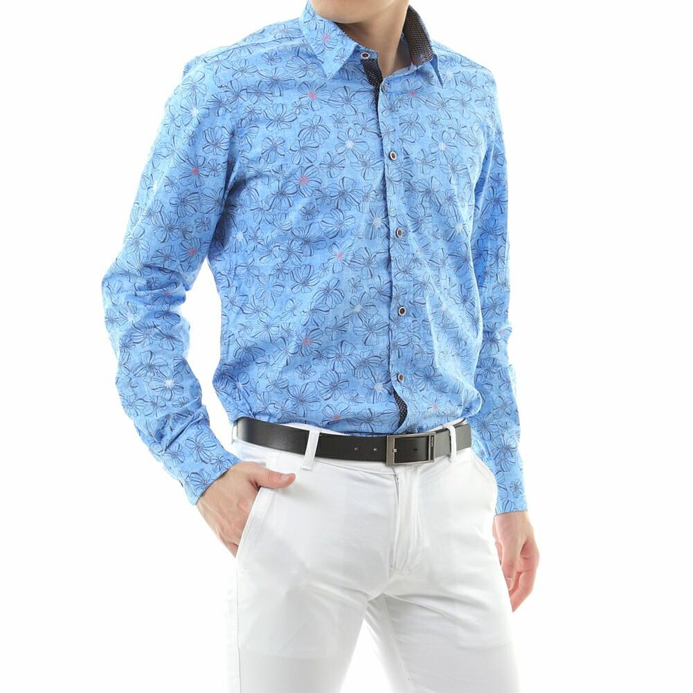 長袖シャツ 花柄 ストレッチ メンズ 青 S~XXL 大きいサイズ きれいめ 着こなし 父の日 プレゼント
