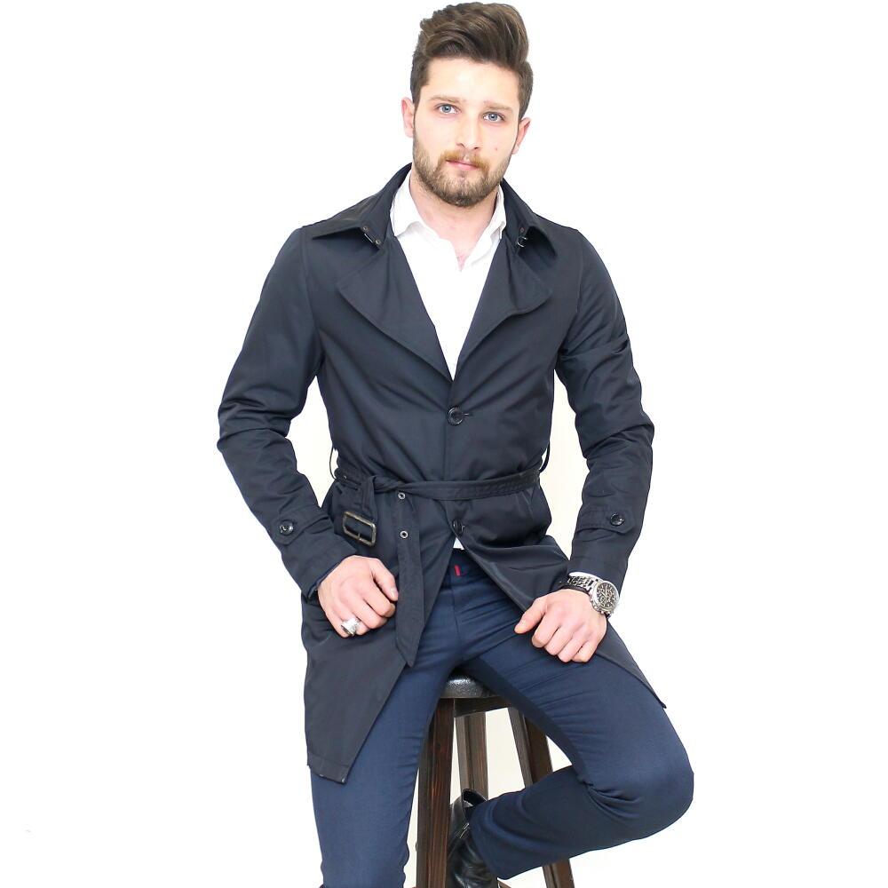 トレンチコート メンズ ハーフコート ビジネス ネイビー 紺 細身 スリム シングル