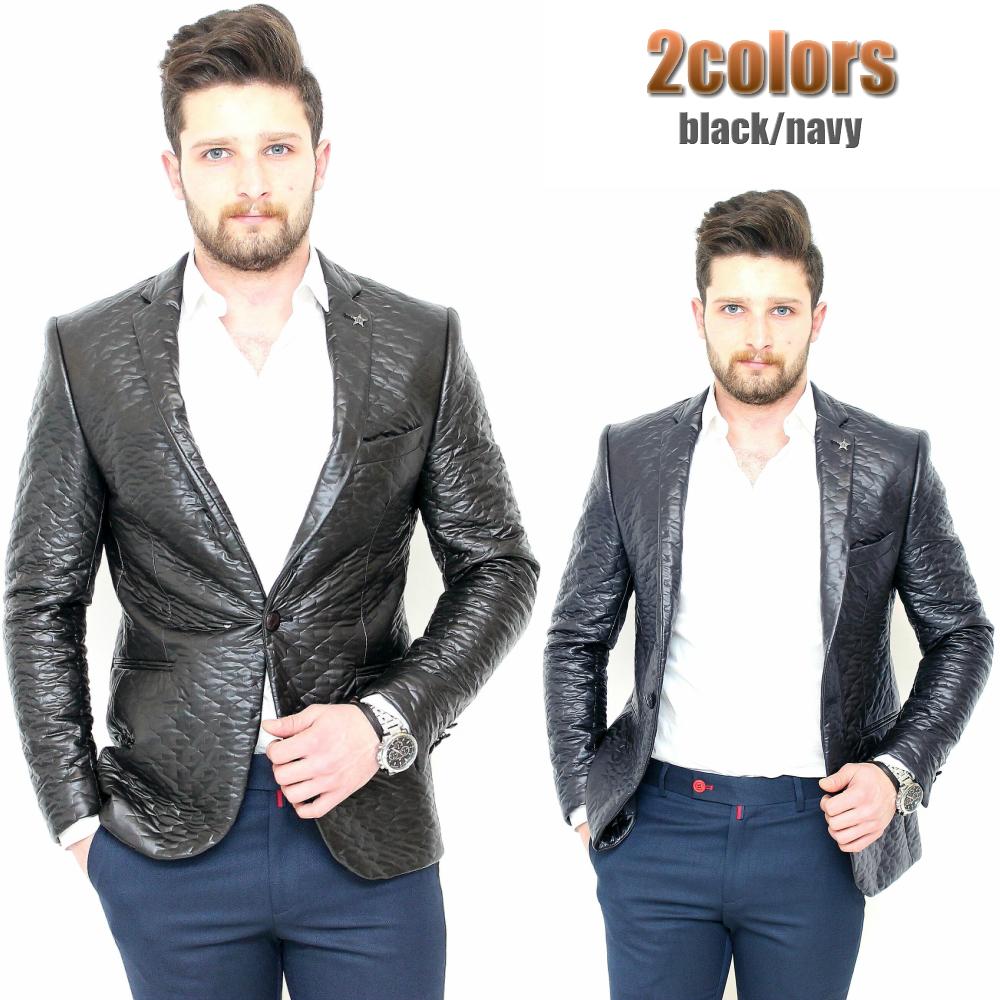 テーラードジャケット ブレザー メンズ ストレッチ 黒 中綿キルティング 一つボタン 細身 タイト シルエット 大きいサイズも入荷